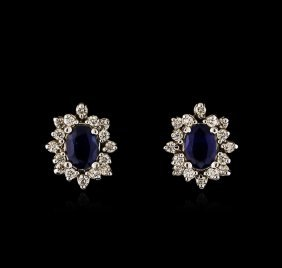 2.00ct Sapphire And Diamond Earrings - 14kt White Gold