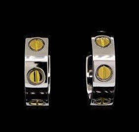 18kt Two-tone Gold Cartier Earrings