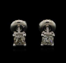 0.49ctw Diamond Stud Earrings - 14kt White Gold