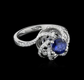 18kt White Gold 1.00ct Sapphire And Diamond Ring
