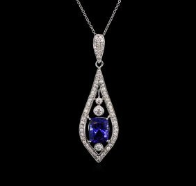 4.00ct Tanzanite And Diamond Pendant With Chain - 18kt