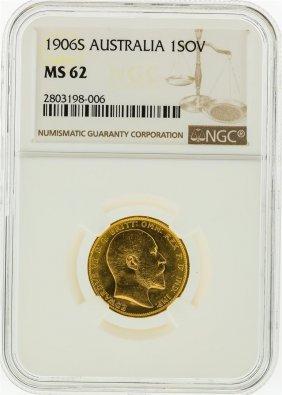 1906-s Ngc Ms62 Australia 1 Sovereign Gold Coin