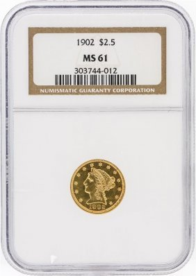 1902 Ngc Ms61 $2.50 Liberty Head Quarter Eagle Gold