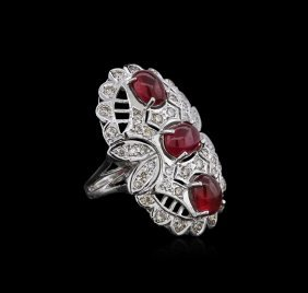 14kt White Gold 6.81ctw Ruby And Diamond Ring