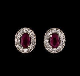 1.00ctw Ruby And Diamond Earrings - 14kt White Gold