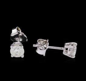 0.62ctw Diamond Stud Earrings - 14kt White Gold