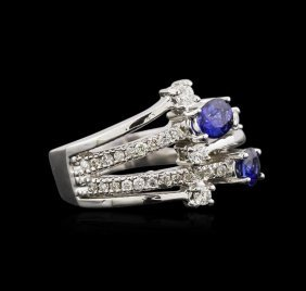 0.87ctw Sapphire And Diamond Ring - 14kt White Gold