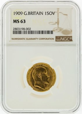 1909 Ngc Ms63 Great Britain 1 Sovereign Gold Coin