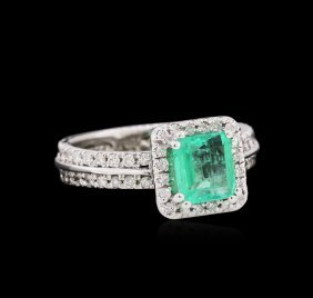 1.09ct Emerald And Diamond Ring - 14kt White Gold