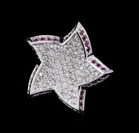 0.52ctw Pink Sapphire And Diamond Star Pendant - 18kt
