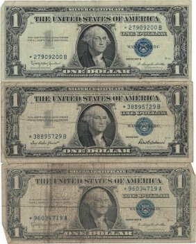 1957 $1 Star Note Silver Certificate Currency Lot Of 3