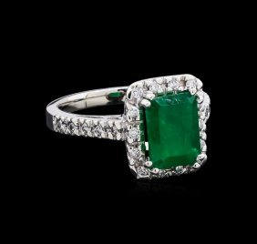 2.16ct Emerald And Diamond Ring - 14kt White Gold