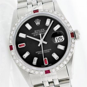 Rolex Stainless Steel Diamond And Ruby Datejust Men's