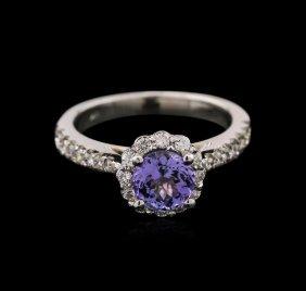1.13ct Tanzanite And Diamond Ring - 14kt White Gold