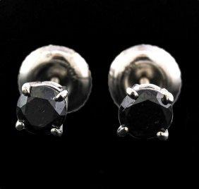 14kt White Gold 0.50ctw Black Diamond Earrings