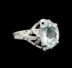 3.82ct Aquamarine And Diamond Ring - 14kt White Gold