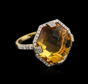 14kt Yellow Gold 14.51ct Citrine And Diamond Ring