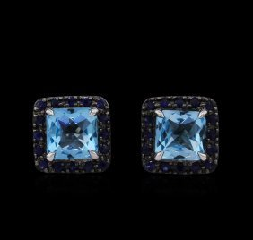 5.32ctw Blue Topaz And Sapphire Earrings - 14kt White
