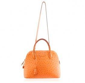 58126: Hermes 28cm Rouge Vif Ostrich Retourne Kelly Bag : Lot 58126