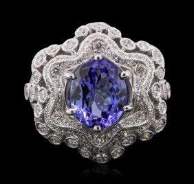 18kt White Gold 3.92ct Tanzanite And Diamond Ring