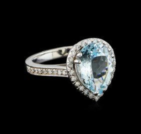 2.94ct Aquamarine And Diamond Ring - 14kt White Gold