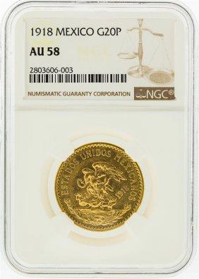 1918 Ngc Au58 Mexico 20 Pesos Gold Coin