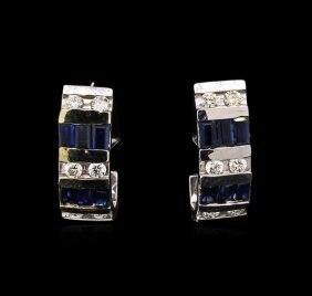 1.50ctw Sapphire And Diamond Earrings - 14kt White Gold