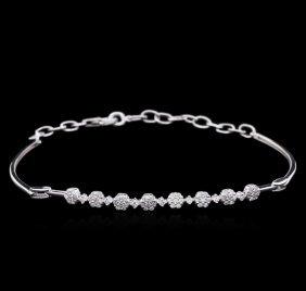 0.51ctw Diamond Bracelet - 14kt White Gold