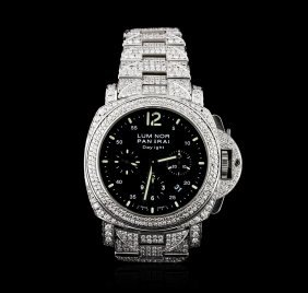 Panerai Stainless Steel 14.00ctw Diamond Luminor