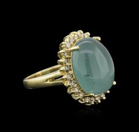 14kt Yellow Gold 13.35ct Aquamarine And Diamond Ring