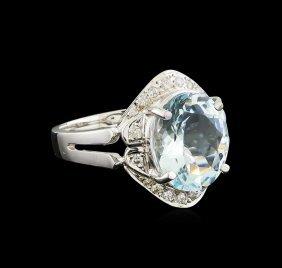 3.85ct Aquamarine And Diamond Ring - 14kt White Gold