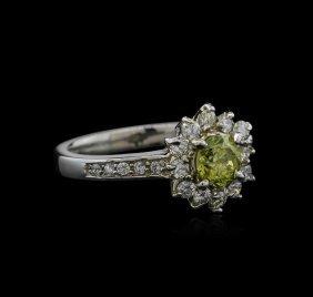 1.14ctw Yellow Diamond Ring - 14kt White Gold