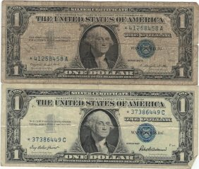 1957 $1 Star Note Silver Certificate Currency Lot Of 2