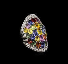 14.12ctw Multi-color Sapphire And Diamond Ring - 14kt