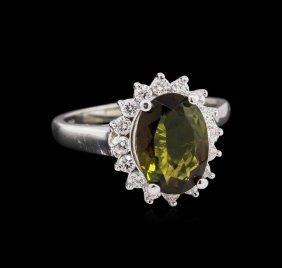 2.30ct Green Tourmaline And Diamond Ring - 14kt White