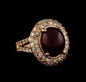 14kt Rose Gold 10.69ct Ruby And Diamond Ring