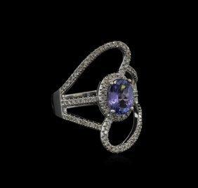 1.50ct Tanzanite And Diamond Ring - 14kt White Gold