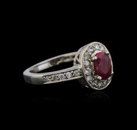14kt White Gold 0.80ct Ruby And Diamond Ring