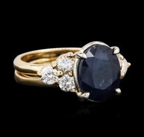 14kt Yellow Gold 4.06ct Sapphire And Diamond Ring