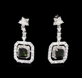 0.85ctw Green Tourmaline And Diamond Earrings - 14kt