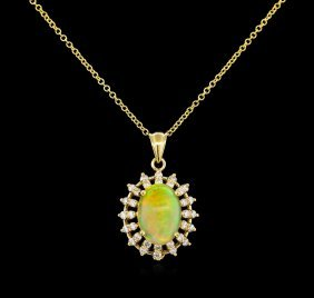 3.78ct Opal And Diamond Pendant - 14kt Yellow Gold