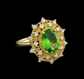 3.1ct Tsavorite And Diamond Ring - 14kt Yellow Gold