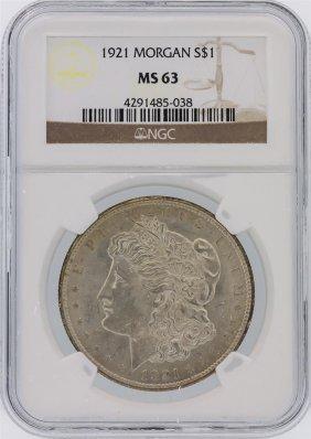 1921 Ngc Ms63 Morgan Silver Dollar