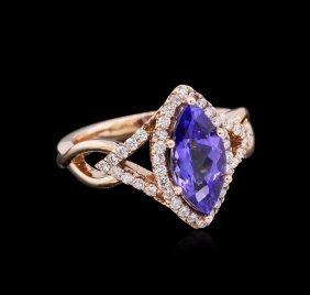 2.13ct Tanzanite And Diamond Ring - 14kt Rose Gold