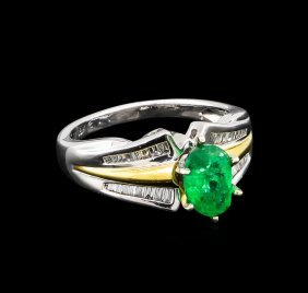 1.32ct Emerald And Diamond Ring - 18kt Two-tone Gold