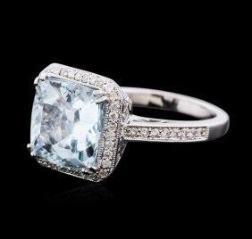 18kt White Gold 6.43ct Aquamarine And Diamond Ring