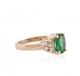 14kt Rose Gold 1.21ct Emerald And Diamond Ring