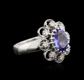 1.73ct Tanzanite And Diamond Ring - 14kt White Gold