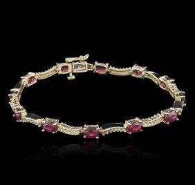 14kt Yellow Gold 7.45ctw Ruby And Diamond Bracelet