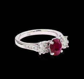 1.52ct Ruby And Diamond Ring - 18kt White Gold